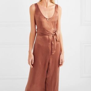 Hatch maternity crinkled wrap jumpsuit in bronze